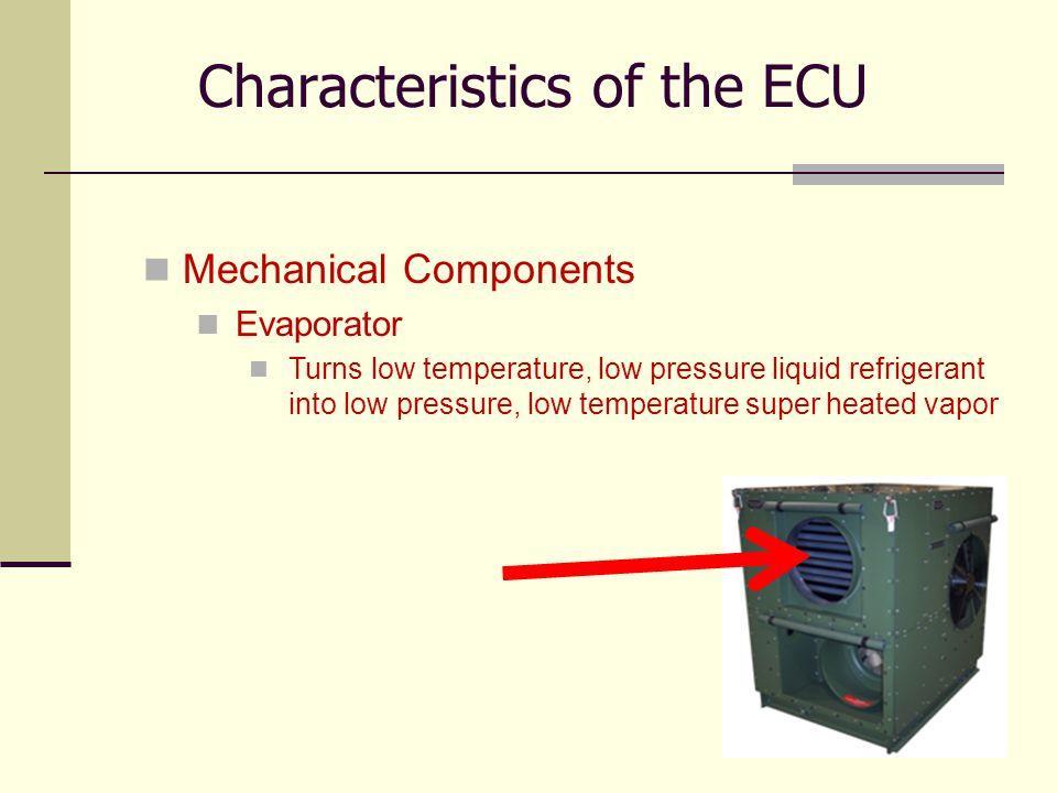 26 Mechanical Components Evaporator Turns low temperature, low pressure liquid refrigerant into low pressure, low temperature super heated vapor Chara