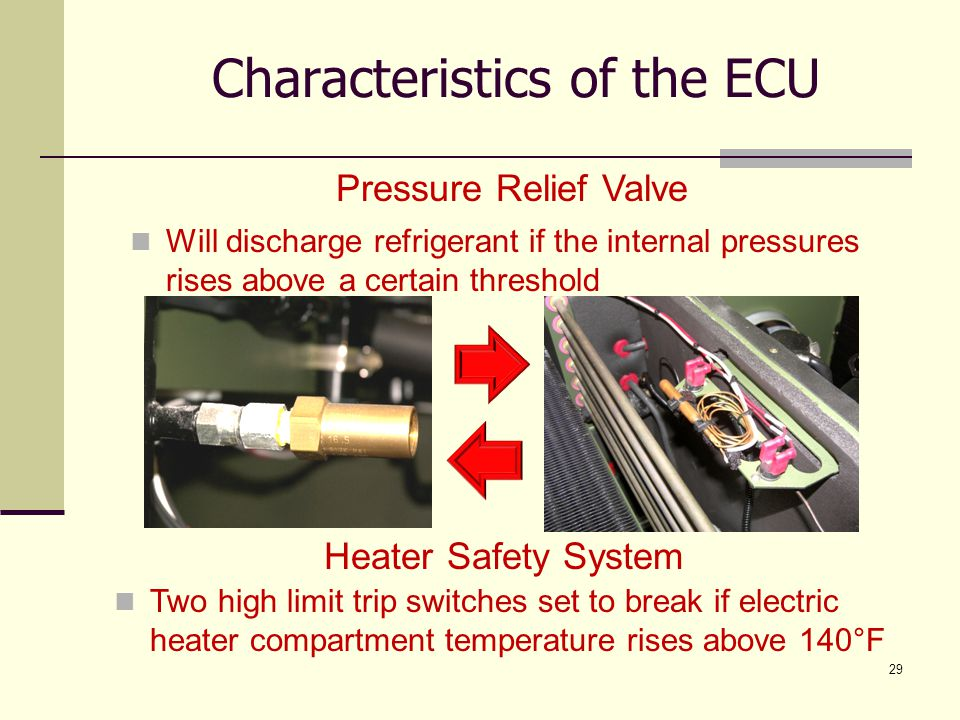 29 Pressure Relief Valve Will discharge refrigerant if the internal pressures rises above a certain threshold Heater Safety System Two high limit trip