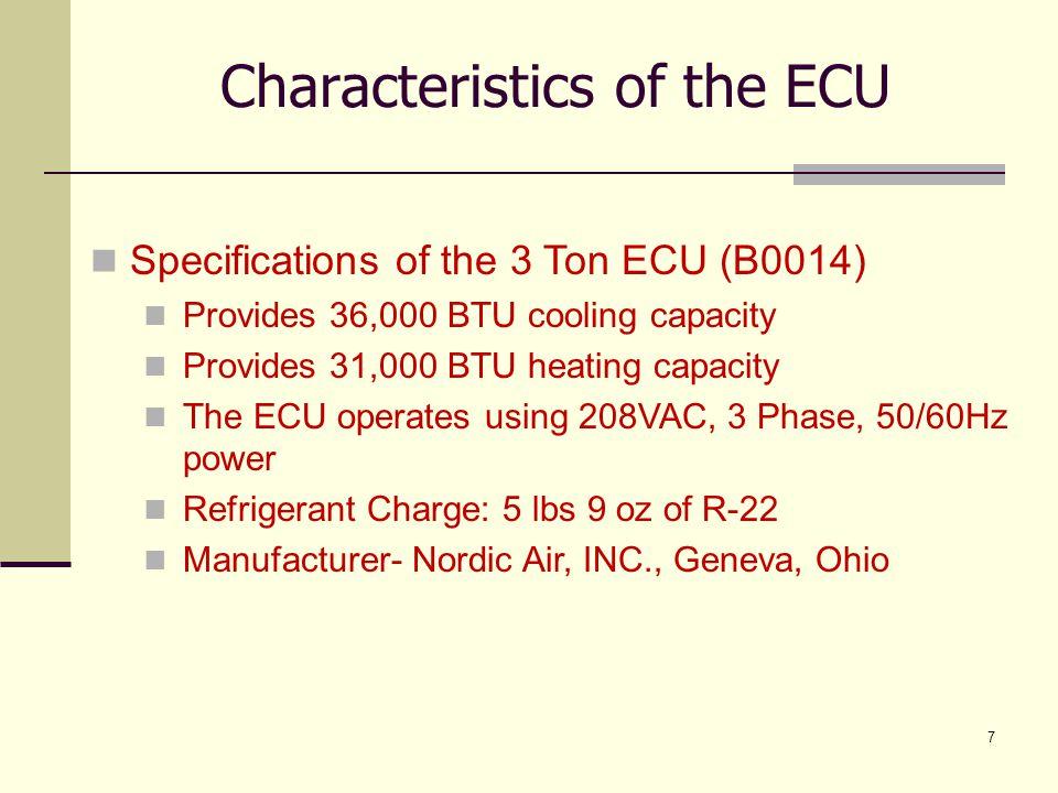 7 Characteristics of the ECU Specifications of the 3 Ton ECU (B0014) Provides 36,000 BTU cooling capacity Provides 31,000 BTU heating capacity The ECU