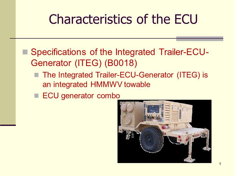 9 Characteristics of the ECU Specifications of the Integrated Trailer-ECU- Generator (ITEG) (B0018) The Integrated Trailer-ECU-Generator (ITEG) is an