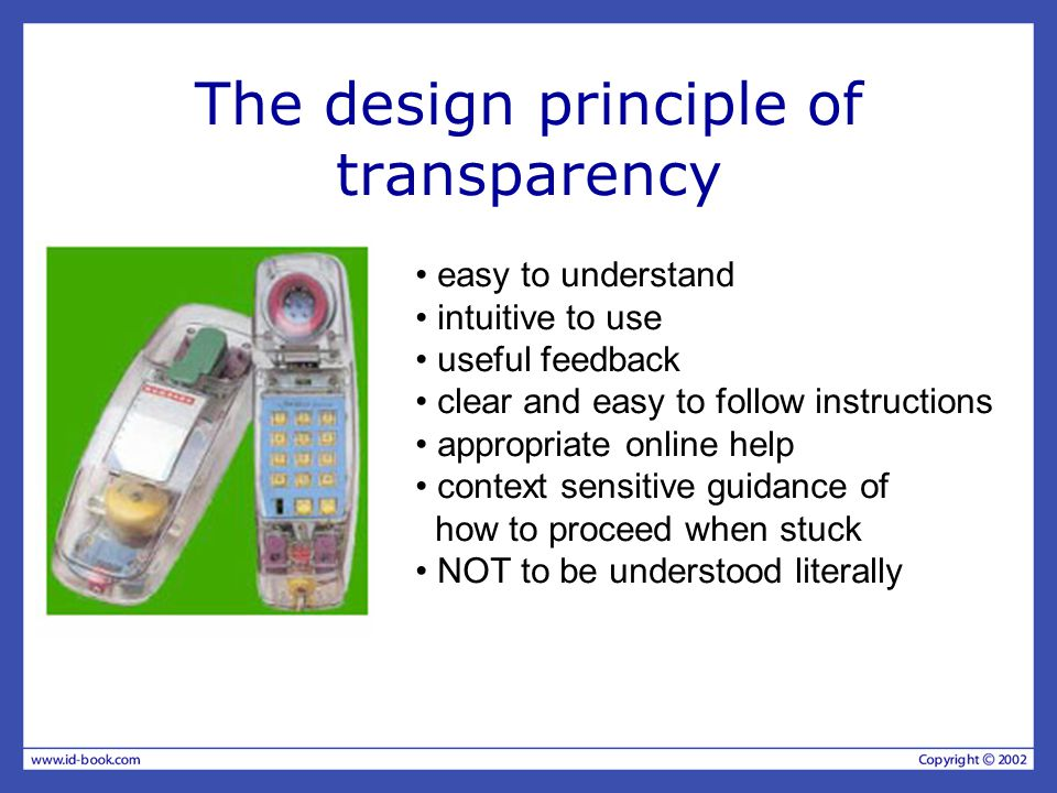 The design principle of transparency easy to understand intuitive to use useful feedback clear and easy to follow instructions appropriate online help context sensitive guidance of how to proceed when stuck NOT to be understood literally