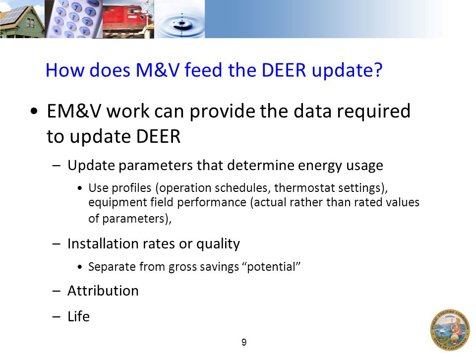 9 How does M&V feed the DEER update.
