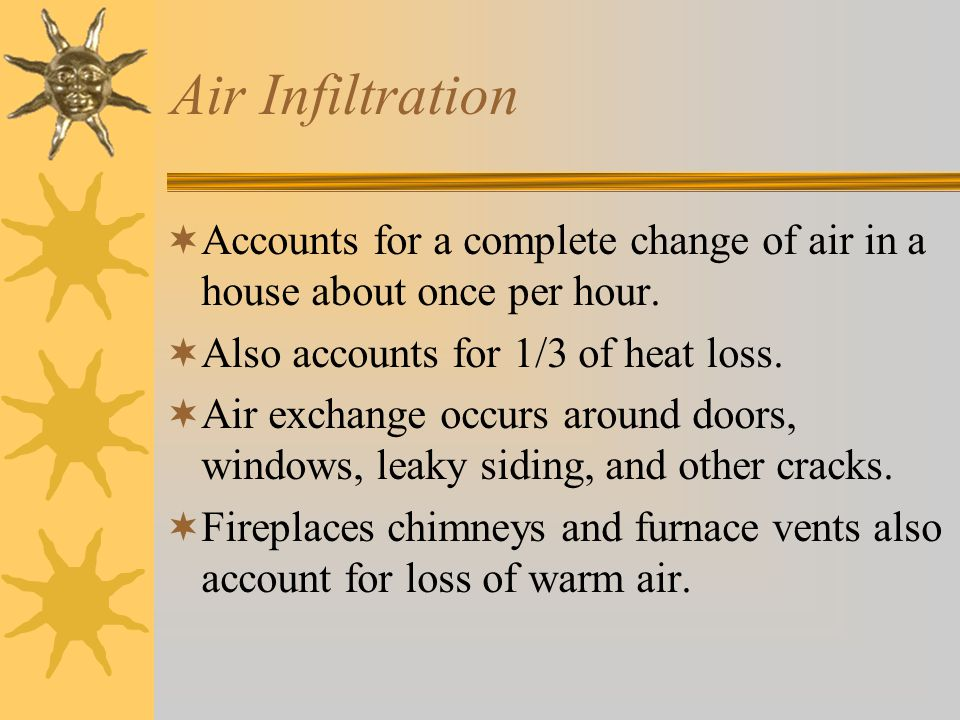 Air Infiltration  Accounts for a complete change of air in a house about once per hour.