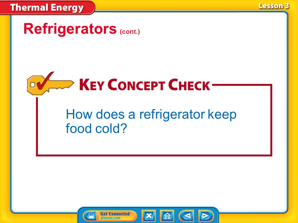 Lesson 3-4 As the cold gas flows through pipes inside the refrigerator, it absorbs thermal energy from the refrigerator compartment and vaporizes.