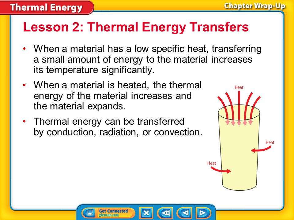 Key Concepts 1 The temperature of a material is the average kinetic energy of the particles that make up the material.