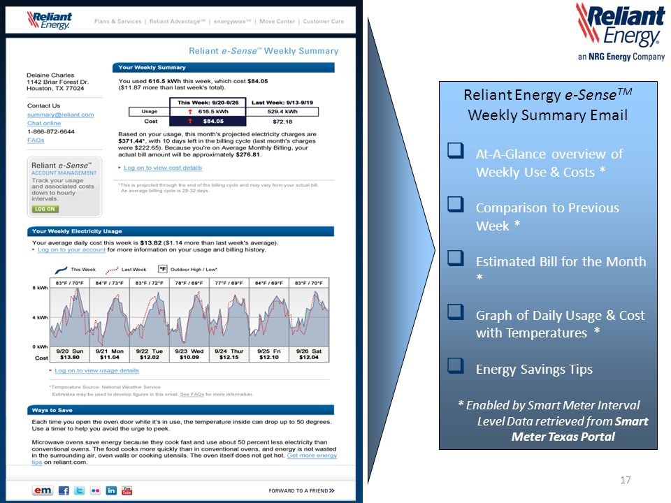 Reliant Energy e-Sense TM Weekly Summary Email  At-A-Glance overview of Weekly Use & Costs *  Comparison to Previous Week *  Estimated Bill for the