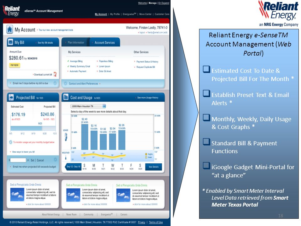 Reliant Energy e-SenseTM Account Management (Web Portal)  Estimated Cost To Date & Projected Bill For The Month *  Establish Preset Text & Email Ale