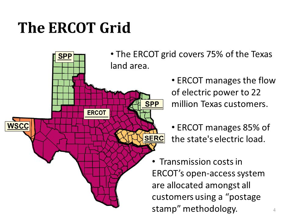 The ERCOT Grid ERCOT manages the flow of electric power to 22 million Texas customers. ERCOT manages 85% of the state's electric load. The ERCOT grid