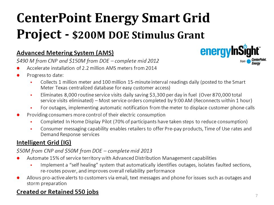 CenterPoint Energy Smart Grid Project - $200M DOE Stimulus Grant 7 Advanced Metering System (AMS) $490 M from CNP and $150M from DOE – complete mid 20