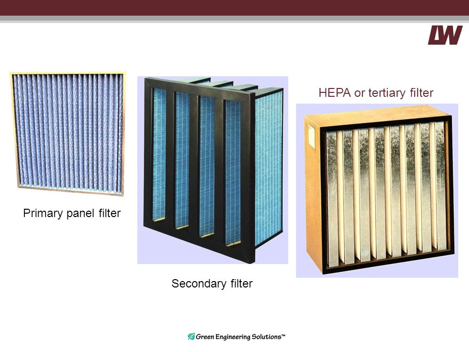 Primary panel filter Secondary filter HEPA or tertiary filter
