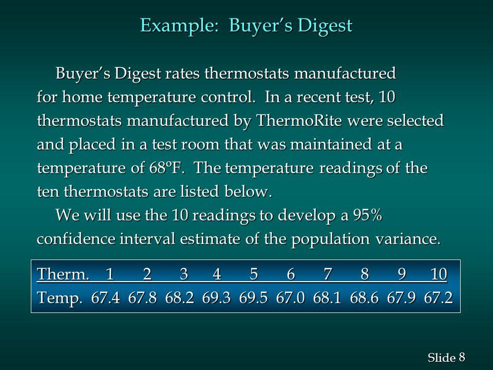 9 9 Slide Example: Buyer's Digest Interval Estimation of  2 Interval Estimation of  2 n - 1 = 10 - 1 = 9 degrees of freedom and  =.05 n - 1 = 10 - 1 = 9 degrees of freedom and  =.05 22 22 0 0.025