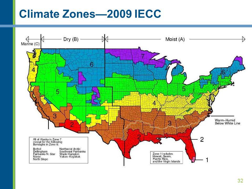 32 Climate Zones—2009 IECC