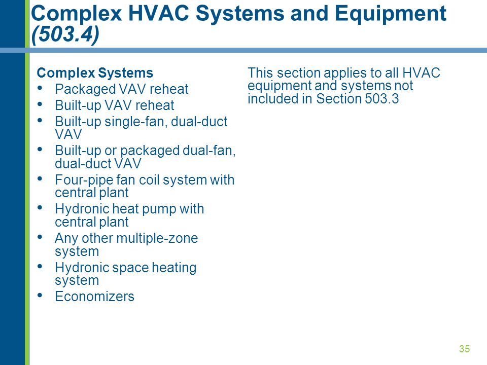 35 Complex HVAC Systems and Equipment (503.4) Complex Systems Packaged VAV reheat Built-up VAV reheat Built-up single-fan, dual-duct VAV Built-up or p