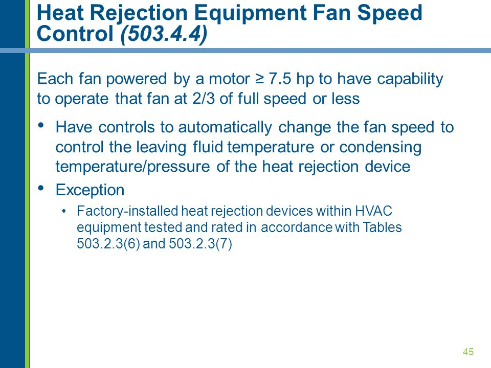 45 Heat Rejection Equipment Fan Speed Control (503.4.4) Each fan powered by a motor ≥ 7.5 hp to have capability to operate that fan at 2/3 of full speed or less Have controls to automatically change the fan speed to control the leaving fluid temperature or condensing temperature/pressure of the heat rejection device Exception Factory-installed heat rejection devices within HVAC equipment tested and rated in accordance with Tables 503.2.3(6) and 503.2.3(7)
