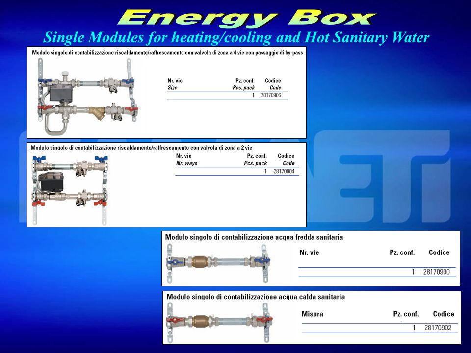 Single Modules for heating/cooling and Hot Sanitary Water