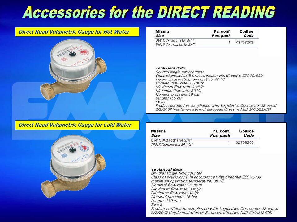 Direct Read Volumetric Gauge for Hot Water Direct Read Volumetric Gauge for Cold Water