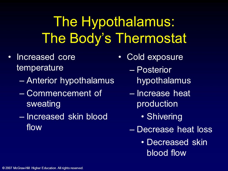 © 2007 McGraw-Hill Higher Education. All rights reserved. The Hypothalamus: The Body's Thermostat Increased core temperature –Anterior hypothalamus –C