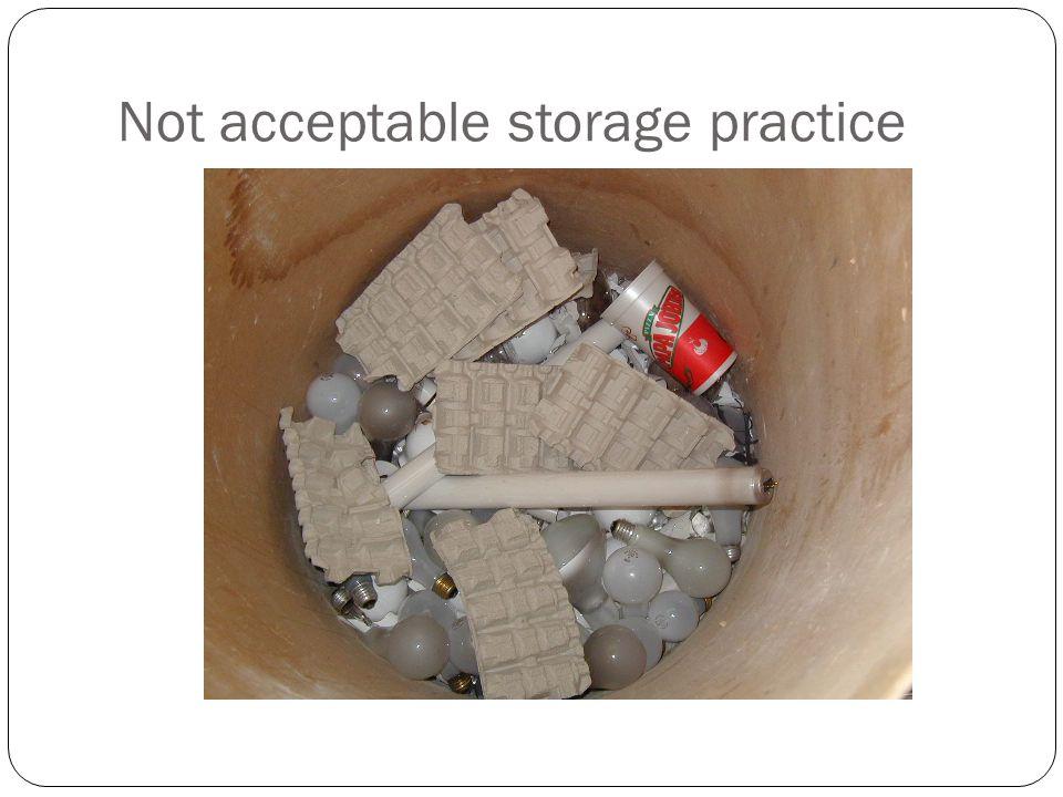 Not acceptable storage practice