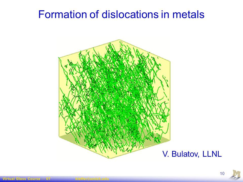 Virtual Glass Course — 07kieffer@umich.edu 10 Formation of dislocations in metals V. Bulatov, LLNL