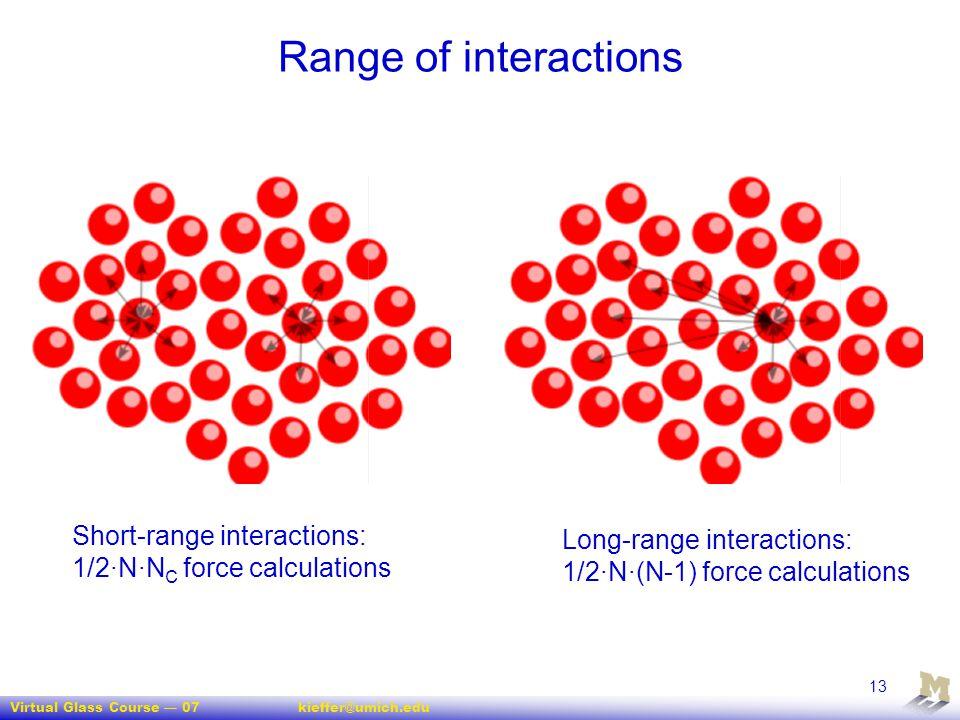 Virtual Glass Course — 07kieffer@umich.edu 13 Range of interactions Short-range interactions: 1/2·N·N C force calculations Long-range interactions: 1/