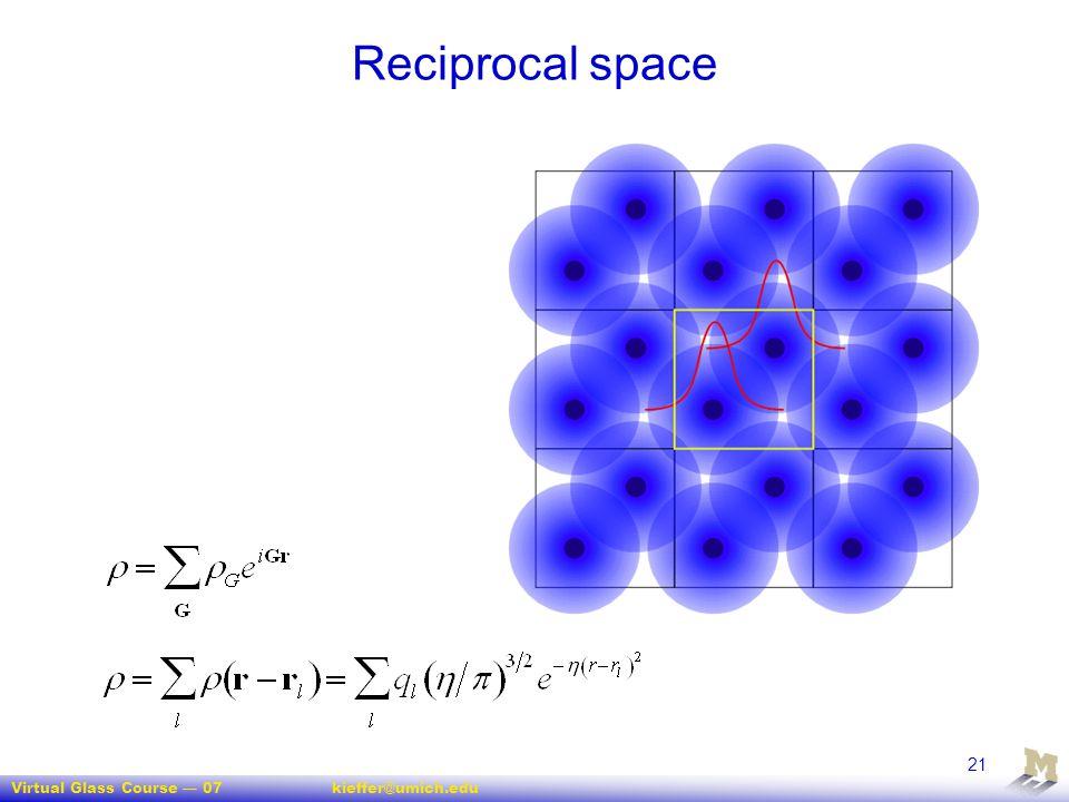 Virtual Glass Course — 07kieffer@umich.edu 21 Reciprocal space