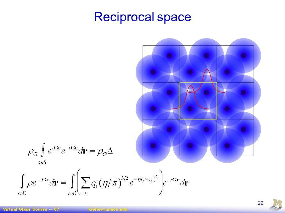 Virtual Glass Course — 07kieffer@umich.edu 22 Reciprocal space