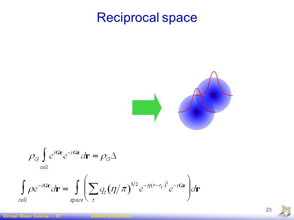 Virtual Glass Course — 07kieffer@umich.edu 23 Reciprocal space