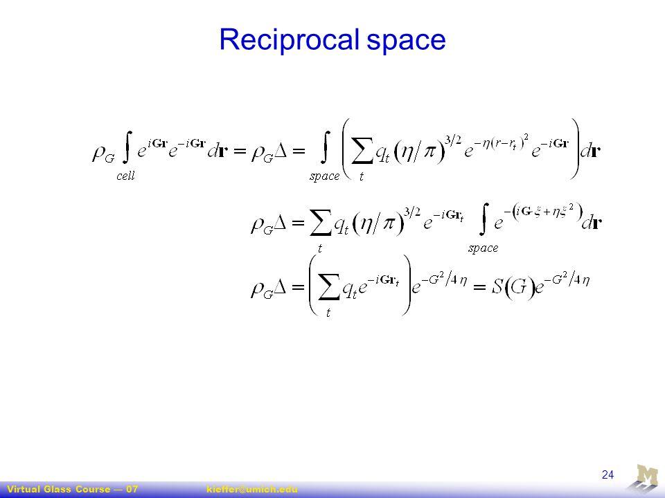 Virtual Glass Course — 07kieffer@umich.edu 24 Reciprocal space
