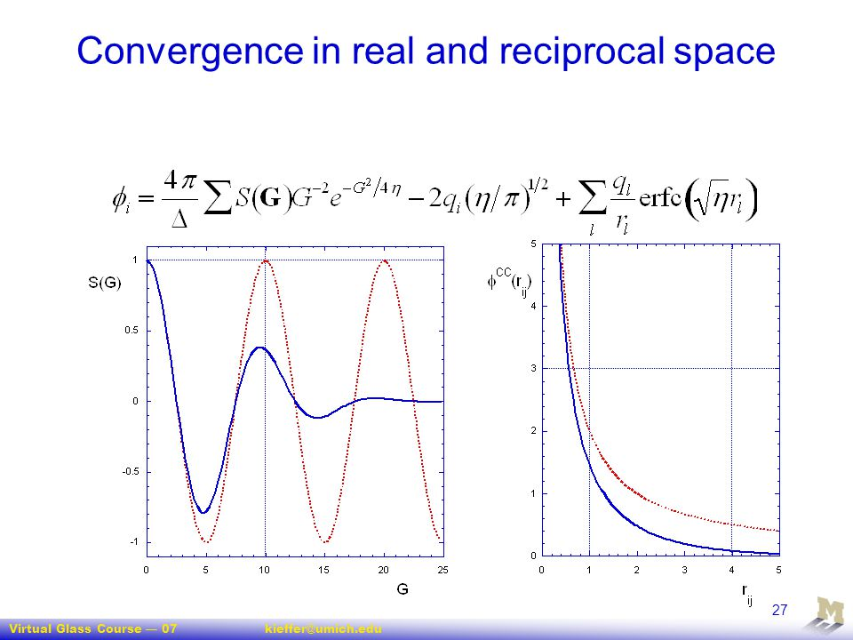 Virtual Glass Course — 07kieffer@umich.edu 27 Convergence in real and reciprocal space