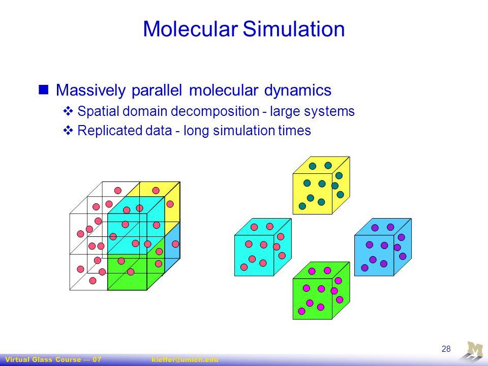 Virtual Glass Course — 07kieffer@umich.edu 28 Molecular Simulation Massively parallel molecular dynamics  Spatial domain decomposition - large system