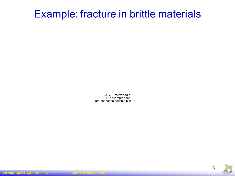 Virtual Glass Course — 07kieffer@umich.edu 31 Example: fracture in brittle materials