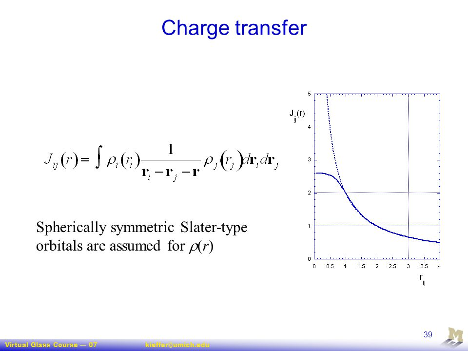 Virtual Glass Course — 07kieffer@umich.edu 39 Charge transfer Spherically symmetric Slater-type orbitals are assumed for  (r)