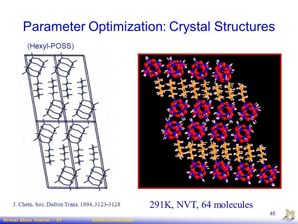 Virtual Glass Course — 07kieffer@umich.edu 46 Parameter Optimization: Crystal Structures 291K, NVT, 64 molecules J. Chem. Soc. Dalton Trans. 1994, 312