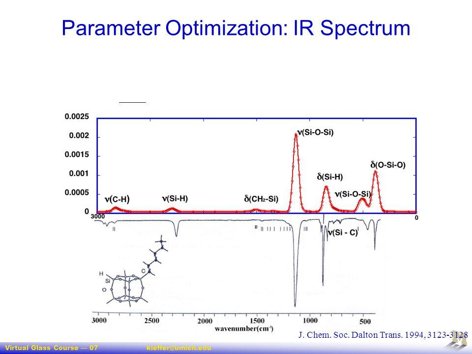 Virtual Glass Course — 07kieffer@umich.edu 47 Parameter Optimization: IR Spectrum J. Chem. Soc. Dalton Trans. 1994, 3123-3128