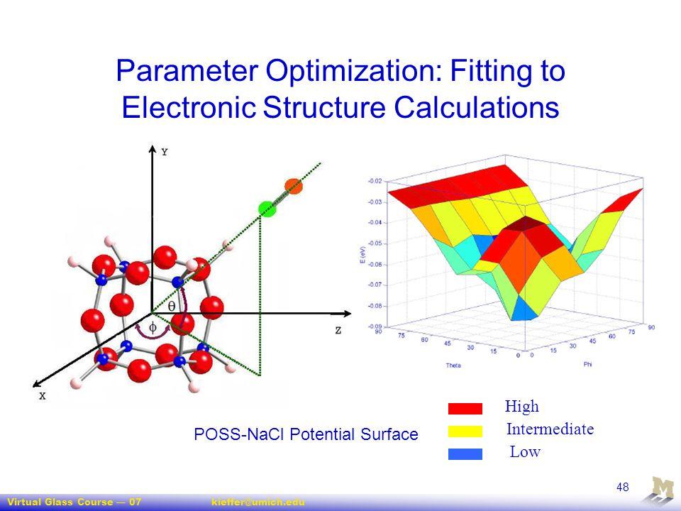 Virtual Glass Course — 07kieffer@umich.edu 48 Parameter Optimization: Fitting to Electronic Structure Calculations High Intermediate Low POSS-NaCl Pot