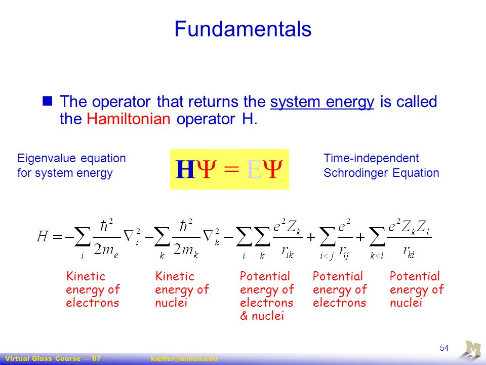 Virtual Glass Course — 07kieffer@umich.edu 54 Fundamentals The operator that returns the system energy is called the Hamiltonian operator H. H  = E 