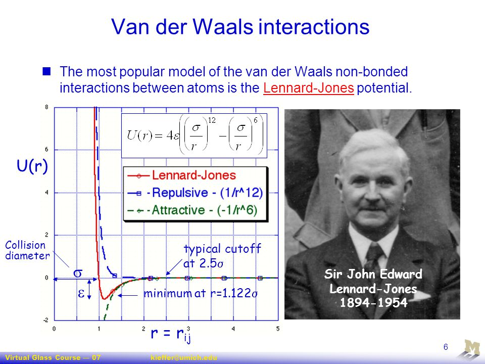Virtual Glass Course — 07kieffer@umich.edu 6 Van der Waals interactions The most popular model of the van der Waals non-bonded interactions between at