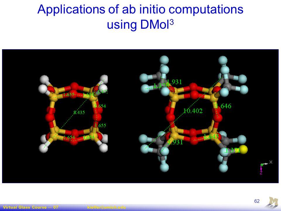Virtual Glass Course — 07kieffer@umich.edu 62 Applications of ab initio computations using DMol 3