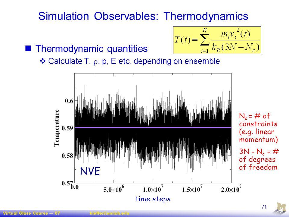 Virtual Glass Course — 07kieffer@umich.edu 71 time steps Simulation Observables: Thermodynamics Thermodynamic quantities  Calculate T, , p, E etc. d