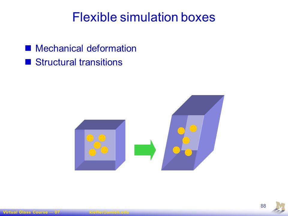 Virtual Glass Course — 07kieffer@umich.edu 88 Flexible simulation boxes Mechanical deformation Structural transitions