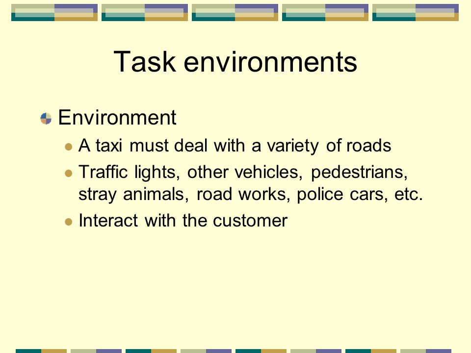 Environment A taxi must deal with a variety of roads Traffic lights, other vehicles, pedestrians, stray animals, road works, police cars, etc. Interac
