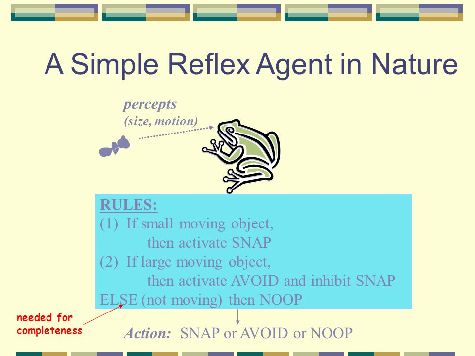 A Simple Reflex Agent in Nature percepts (size, motion) RULES: (1) If small moving object, then activate SNAP (2) If large moving object, then activat