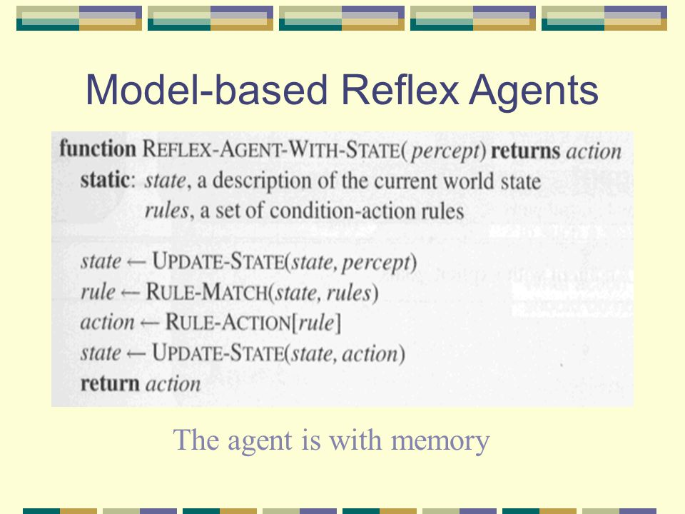 Model-based Reflex Agents The agent is with memory