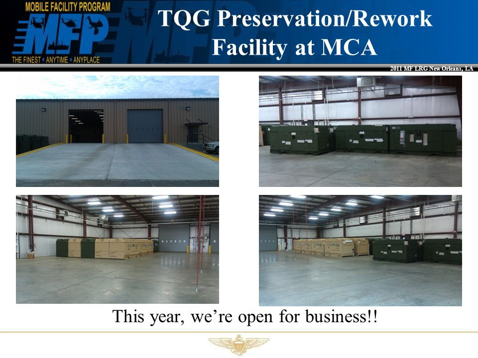 2011 MF LRG New Orleans, LA R-134A Environmental Conditioning Units We know there have been issues, appreciate the Fleet's support in helping resolve issues Testing wrapping up on new ECU-134 Lower fan blade –MALS-14….Thank You!.