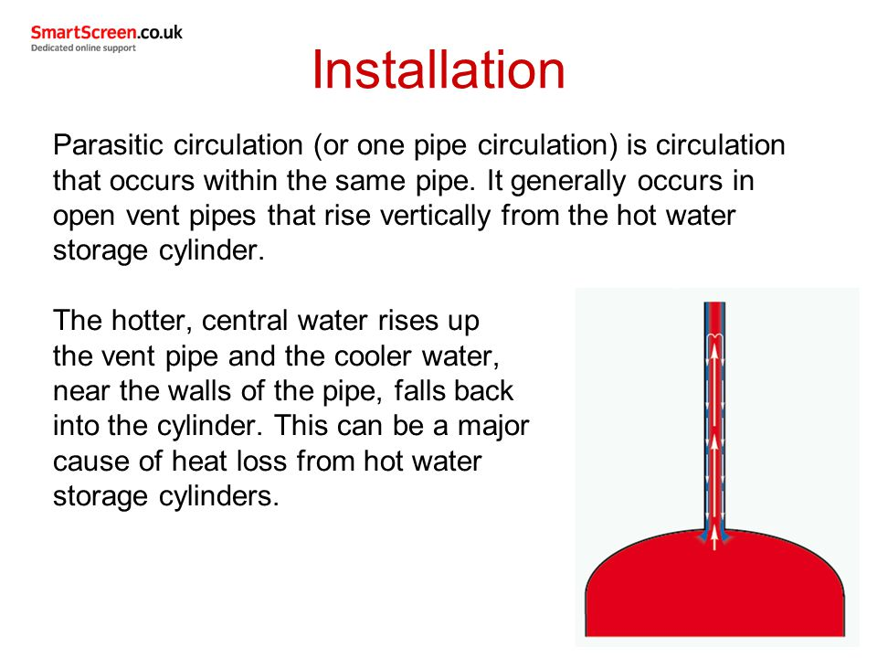 Parasitic circulation (or one pipe circulation) is circulation that occurs within the same pipe.