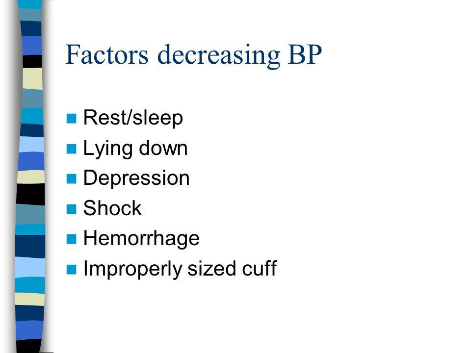 Factors decreasing BP Rest/sleep Lying down Depression Shock Hemorrhage Improperly sized cuff