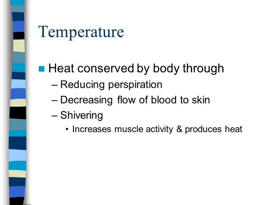 Temperature Heat conserved by body through –Reducing perspiration –Decreasing flow of blood to skin –Shivering Increases muscle activity & produces he