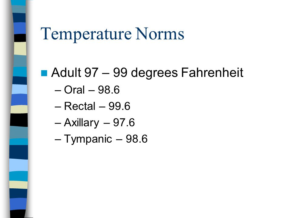 Temperature Norms Adult 97 – 99 degrees Fahrenheit –Oral – 98.6 –Rectal – 99.6 –Axillary – 97.6 –Tympanic – 98.6