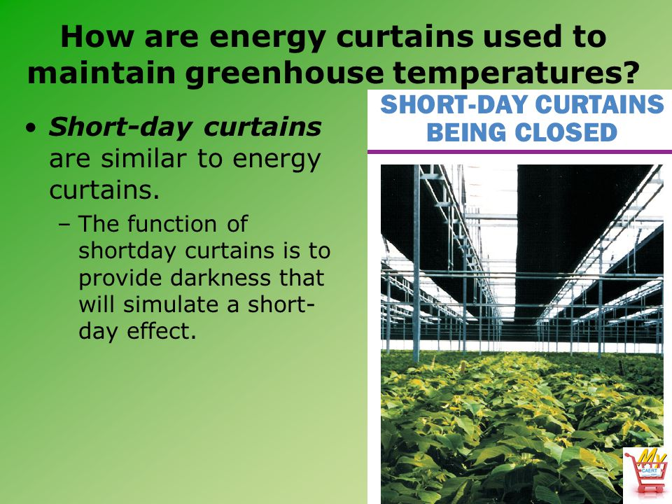 Short-day curtains are similar to energy curtains.