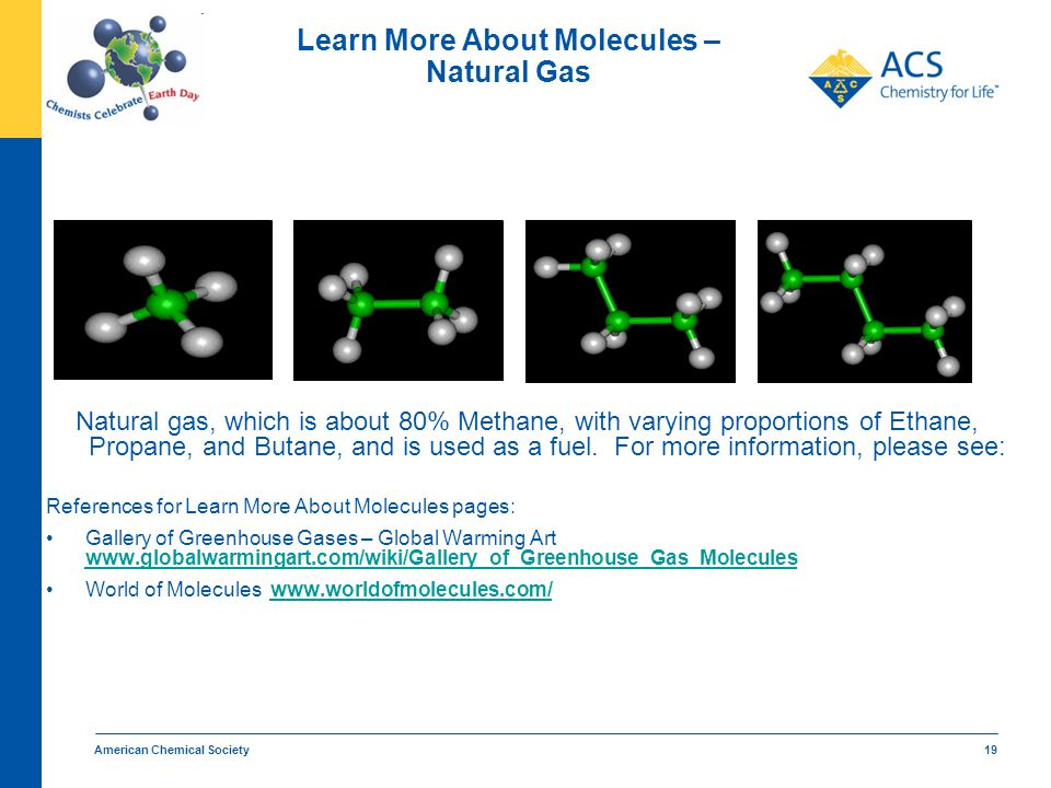 American Chemical Society 19 Learn More About Molecules – Natural Gas Natural gas, which is about 80% Methane, with varying proportions of Ethane, Pro